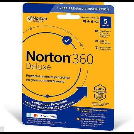 Norton 360 Deluxe - 5 eszköz / 1 év